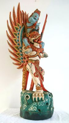 Large Polychrome Wood Rama on Garuda - Bali - Indonesia - Late 20th century