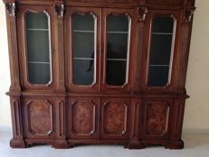 Neoclassical style walnut bookcase with glass doors - 20th century