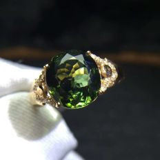 3.13 Carat Tourmaline Ring In 18K Solid Gold with Diamond; Ring Size: 6.75; Free Shipping