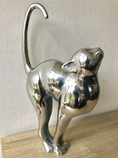 Very large handmade silver-plated metal cat - 50 cm