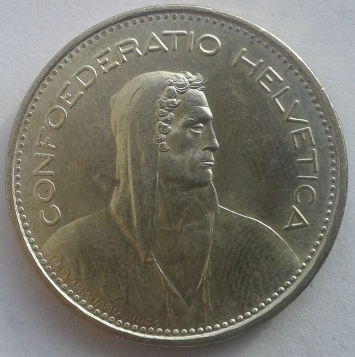 Switzerland - 5 Francs, 19655 - silver