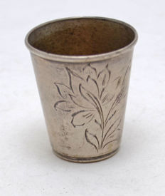 Vodka Cup - 875 silver - Wild Flowers - Russia - after 1958