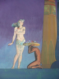 Chesney - Weiblicher Akt mit Diener vor antiken Säulen (Nude with servant in front of ancient columns)