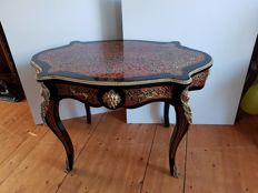 Very large Boulle technique writing table/dining table, France - 1950s/60s