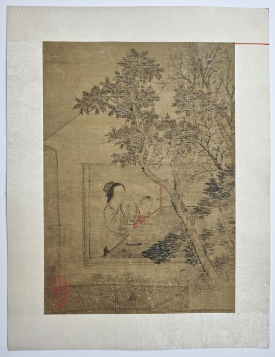 Fine Provenance Painting of Beauty and Boy - China - 18th/19th Century