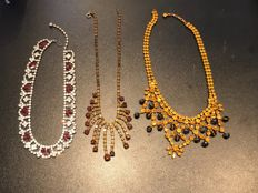 Collection of  Rare crystal set Art Deco  necklaces