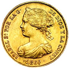 Spain. Isabel II. 100 reales in gold. Seville, 1860. Scarce
