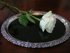 Dutch silver serving tray with a dark cut and polished Bakelite inner plate, Netherlands, 1947