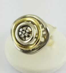 750 yellow gold / white gold - brilliant ring - 7 x 0.01 ct - diamond - 9.62 g - Size: 59