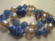 Necklace by Miriam Haskel - 1930-e - Art glass and simulated pearls