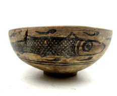 Indus Valley Painted Terracotta Bowl decorated with Fish Motif - 151x70mm