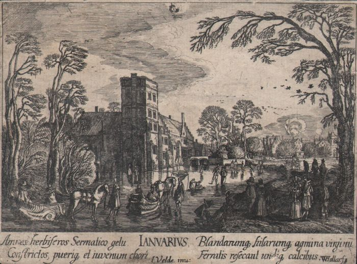 Wencesclaus Hollar (1607-1677) - Januarius - An early work by this well known artist - Ca. 1630