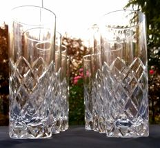 Lot of 8 chiselled cut crystal glasses, Saint Louis, France - ca 1880/1900