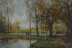 Willem Hendriks (1888-1966) - Cattle watering in a river landscape