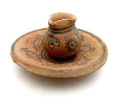 Indus Valley Painted Terracotta Cup and Plate with Bird Motif - 46x45mm (cup) 103x24mm (plate)