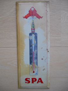 Rare metal thermometer of Spa from 1955 in cream colour