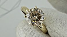 2.82 ct round diamond ring 14 kt in yellow gold - size 7