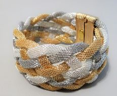 Kenneth Jay Lane Signed - Silver and gold plated Mesh Bracelet