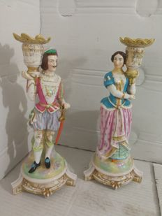 Vieux Paris - Pair of porcelain torchbearers, candlesticks, 19th century
