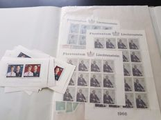 Luxembourg and Liechtenstein - batch of sheets and sheet parts in a folder and in bags