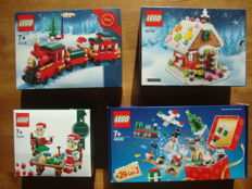 4 x Lego Exclusive Christmas sets - 40138 + 40139 + 40222 + 40205 - Christmas Train + Gingerbread House + Christmas Build Up +  Little Elf Helpers