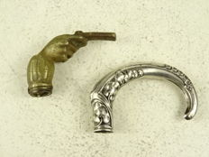 Two cane handles in bronze and silver  - Germany - 1850 - 1900