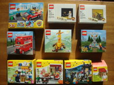 10 x Lego Exclusive/collectable sets - 40220 London Bus, 40221 Fountain, 5002812 and 5004419 Classic minifigures, 40228, 40256, 40121, 40122, 40123 and 5004468