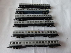 """Marklin Z 8716/8717/8718 - 6-piece passenger train type """"Silberlinge"""" with control car of the DB"""