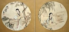2 x Fine Provenance Paintings of Beauties (Ex Christie's) - China - Late 19th century
