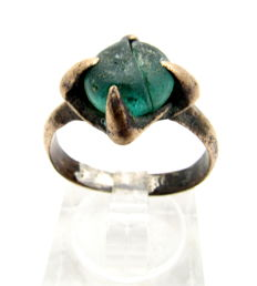 Viking Bronze Ring with Teal Stone in Bezel - WEARABLE GIFT WITH GIFT BAG - 19mm