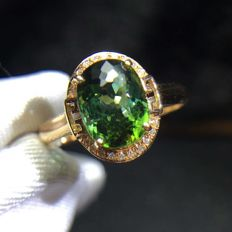 2.15 Carat Tourmaline Ring In 18K Solid Gold with Diamond; Ring Size: 6.75