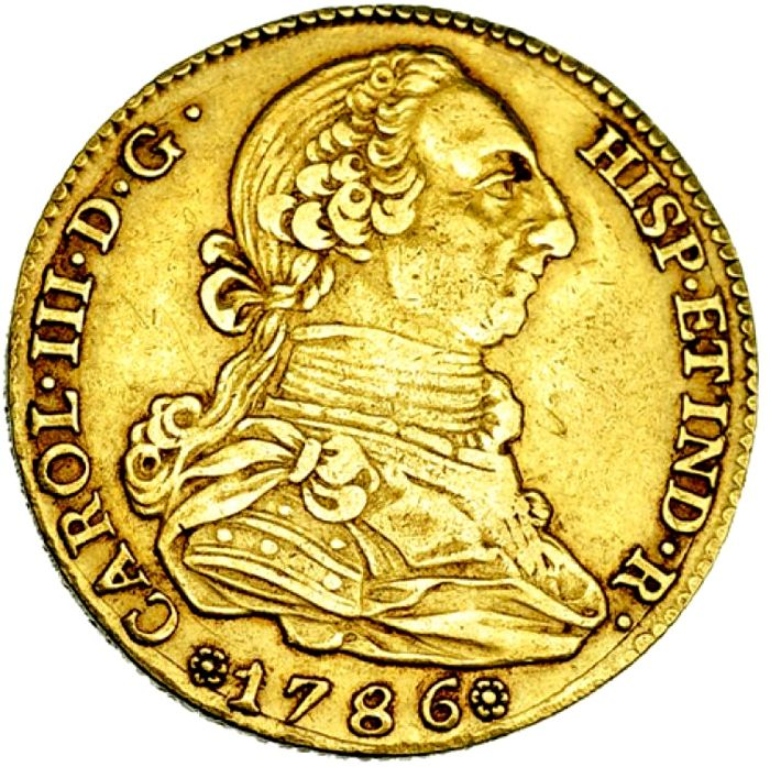 Spain - Carlos III (1759 - 1788), gold doubloon of 4 escudos  Madrid, 1786   DV  - Catawiki