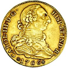 Spain - Carlos III (1759 - 1788), gold doubloon of 4 escudos. Madrid, 1786. DV.