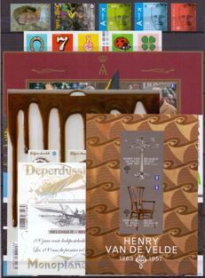 Belgium 2013 - composition of imperforated stamps and blocks and booklets with back number