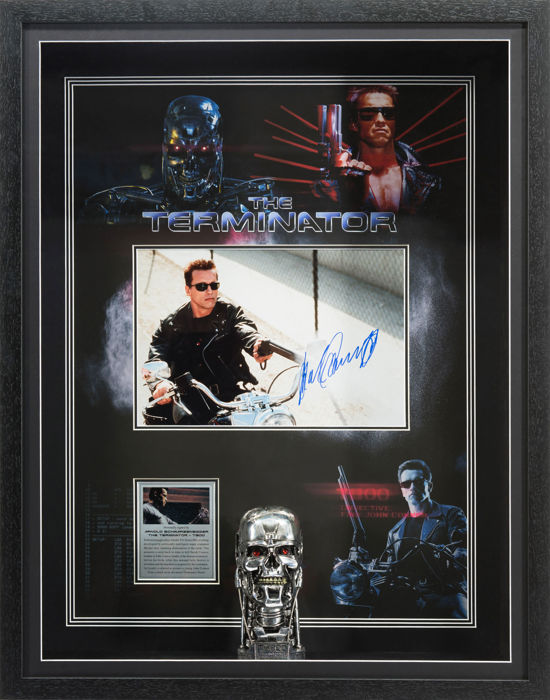 Signed Arnold Schwarzenegger Framed Terminator Display - Very rare with COA