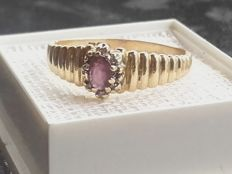 Unik 14k gold ring with a pink sapphir, ring size 18,40mm/ 2.55g***no reserve
