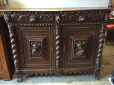 An oak sideboard in Renaissance style, Belgium, late 19th century with 17th century components