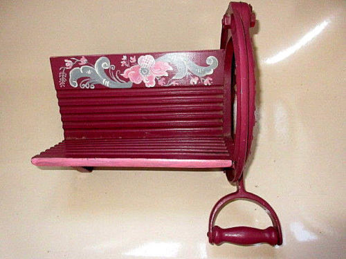 vintage rare painted Raadvad Hand Operated Bread Slicer c 1900 Guillotine Style Denmark