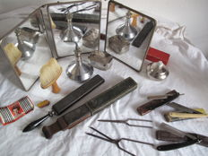 Very nice lot from a former barber/hairdresser: folding razor, triptych, leather sharpener, + others