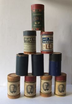 10 two-minute phonograph cylinders, including Edison Record — Edison Bell and brown 2-minute phonograph cylinders origin USA and England, period 1904-1909
