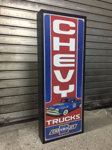 rare Chevrolet Chevy  large lightbox 110cm x 42cm x 13cm illuminated advertising sign - xxl dealer lemp garage service item sign