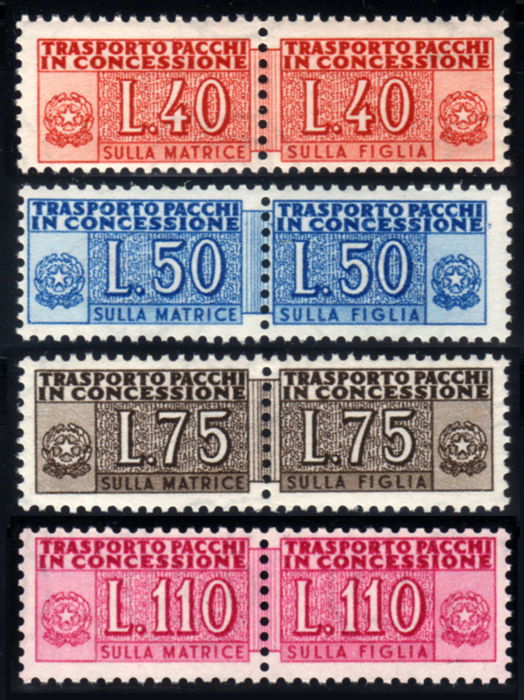 Italy, Republic, 1953 – Authorised parcels, wheel, complete series, 4 values – Sass. No. 2200a.
