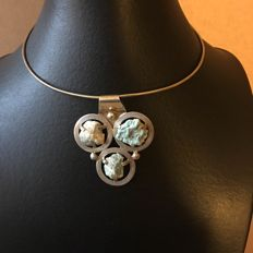 Designer necklace with vermeil and untreated raw turquoises