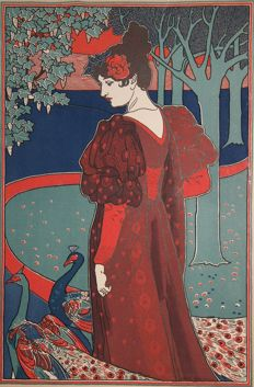 Louis Rhead (1857-1926) - 'La femme au paon' - original colour lithograph taken from L'estampe Moderne