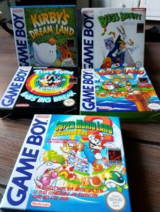 5 Game Boy Games. boxed like Wario land and Super Mario Land 2