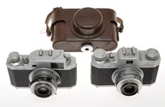 Gamma, couple of two 35mm cameras made in Italy (Rome), Alba and Perla
