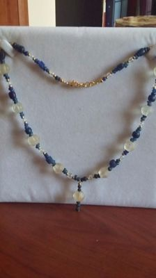Necklace with Roman blue glass and faceted beads with a multi-drop pendant, 50 cm length