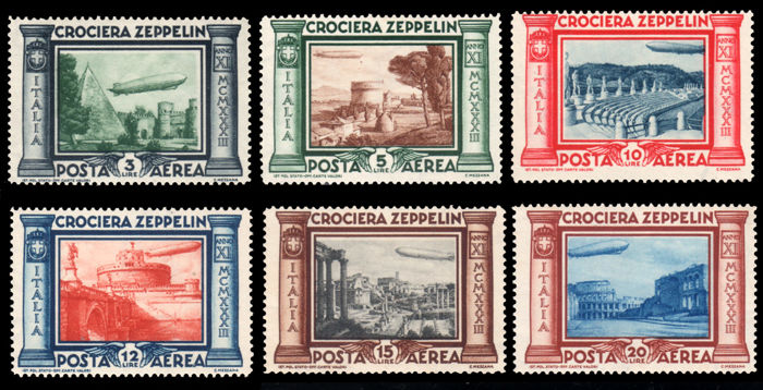 Italy, Kingdom, 1933 – 'Zeppelin' Airmail complete series – Sass.  No. s.1508.