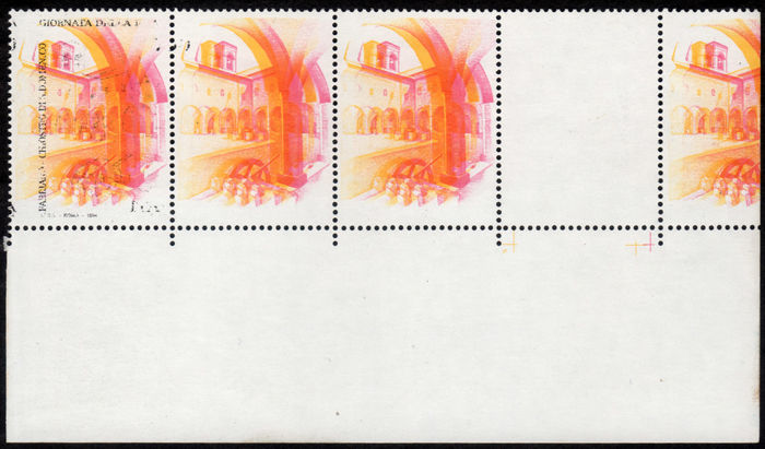 Italy, Republic, 1994 – Strip, variety, evanescent / missing print