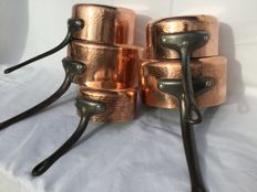 Beautiful large five piece set French hammered red copper saucepans - thick red copper 2 mm and tinned inside __ VILLEDIEU FRANCE __ professional casseroles
